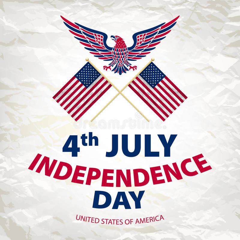 Easy to edit vector illustration of eagle with American flag for Independence day stock illustration