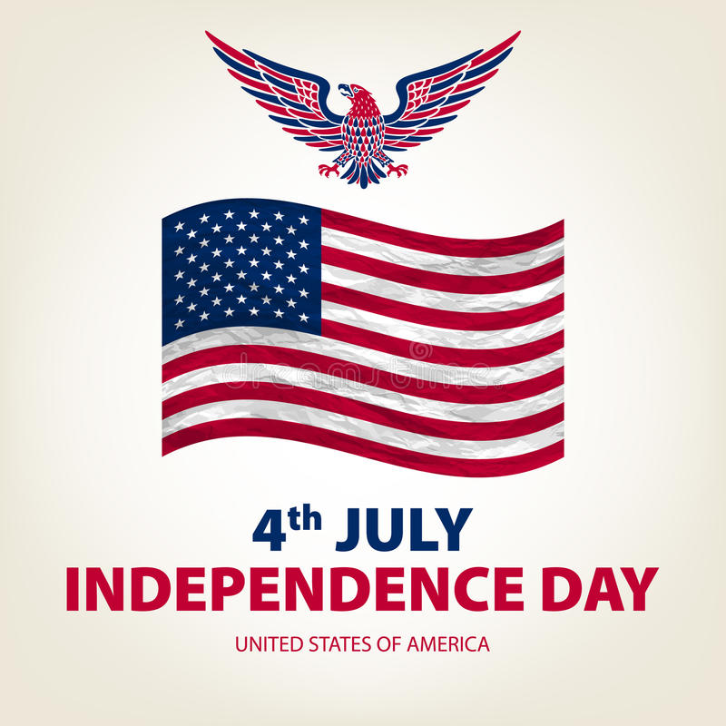 Easy to edit vector illustration of eagle with American flag for Independence day vector illustration
