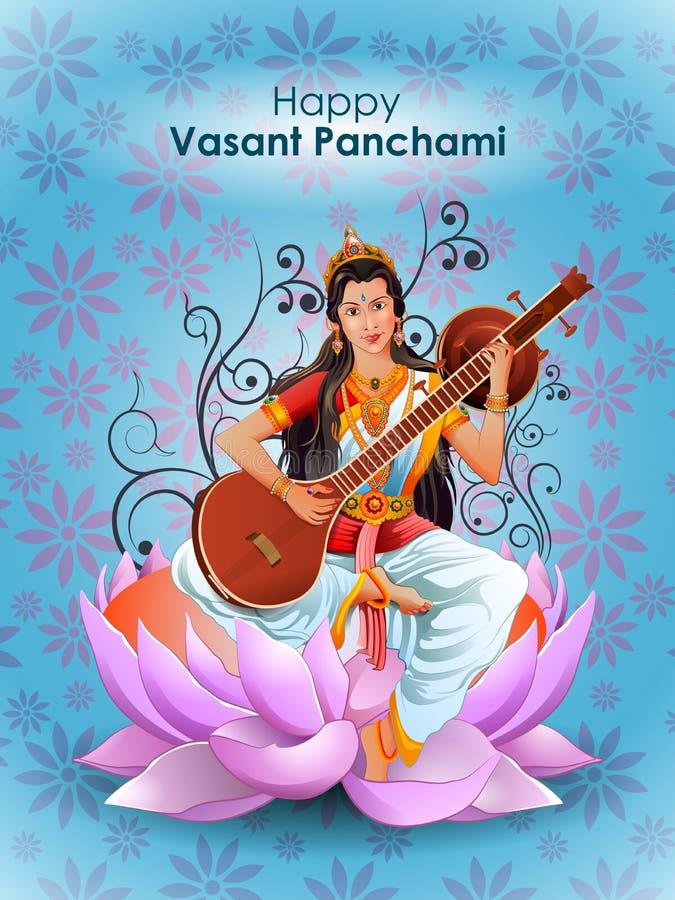 Goddess Saraswati for Vasant Panchami Puja of India. Easy to edit vector illustration of Goddess Saraswati for Vasant Panchami Puja of India stock illustration