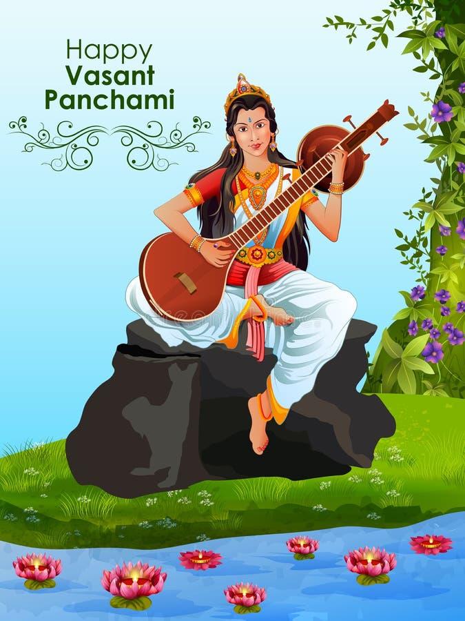 Goddess Saraswati for Vasant Panchami Puja of India. Easy to edit vector illustration of Goddess Saraswati for Vasant Panchami Puja of India royalty free illustration
