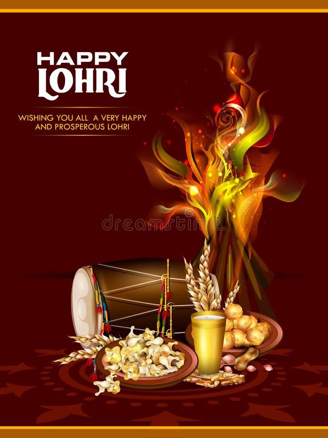 Happy Lohri festival of Punjab India background stock illustration