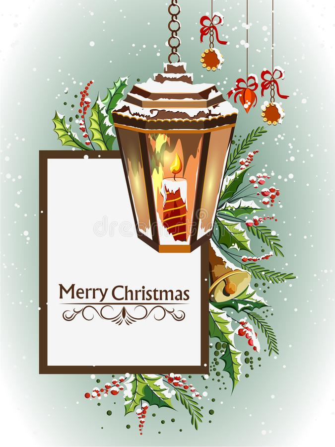 Happy New Year and Merry Christmas greeting background royalty free illustration