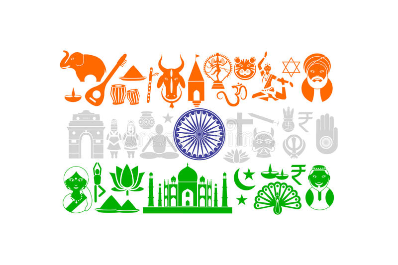 Indian Flag with Cultural Object stock illustration
