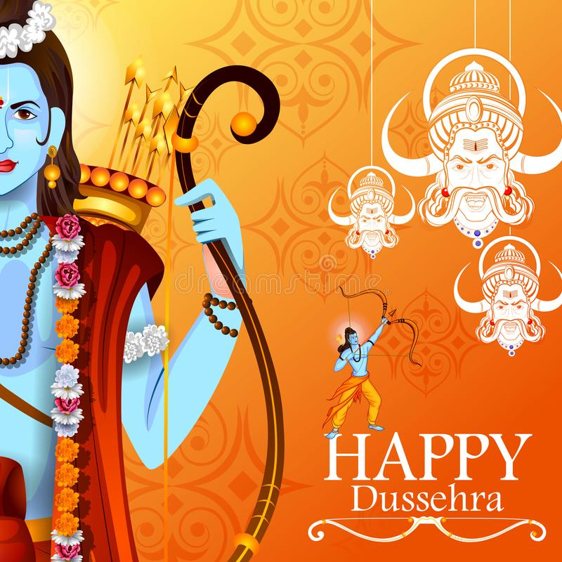 Happy Dussehra background showing festival of India royalty free illustration