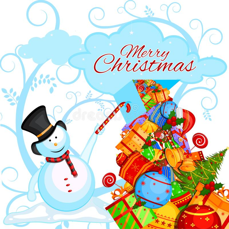 Snowman with gift in winter background for Merry Christmas holiday celebration stock illustration