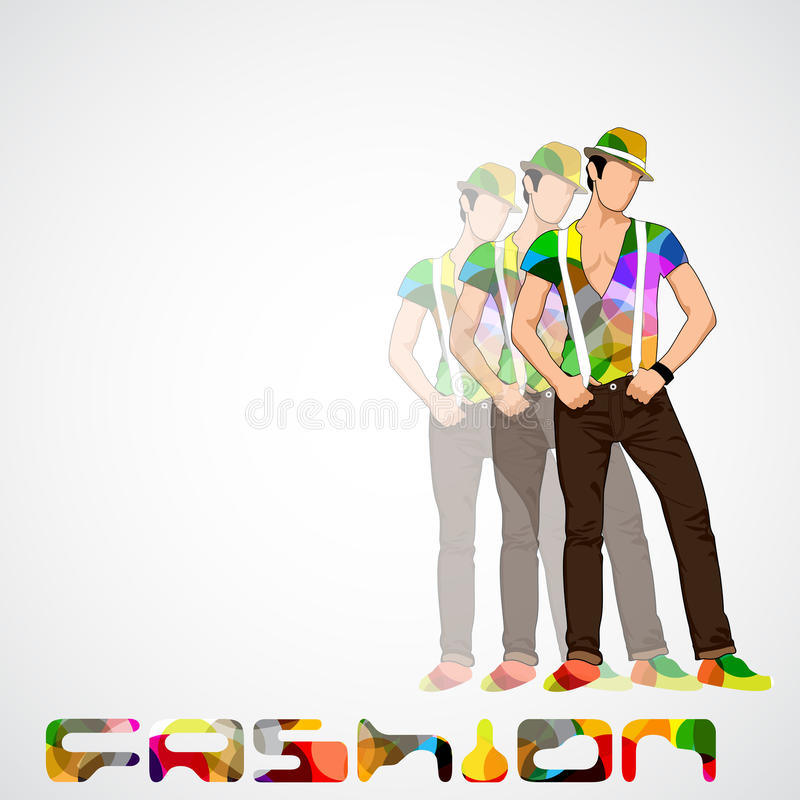 Stylish young man. Easy to edit vector illustration of stylish young man with hat posing royalty free illustration