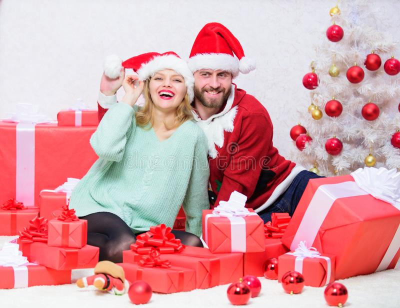 It is easy to spread happiness around. Happy family celebrate christmas. Christmas gift concept. Couple in love enjoy royalty free stock image