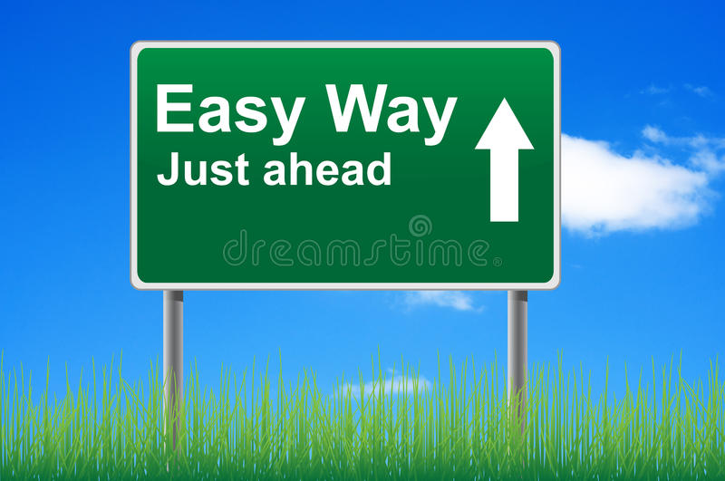 Easy way, concept road sign. Easy way, concept road sign on sky background stock illustration