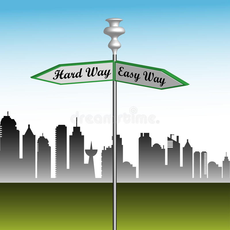 Download Easy way or the hard way stock vector. Illustration of indicator - 25630121
