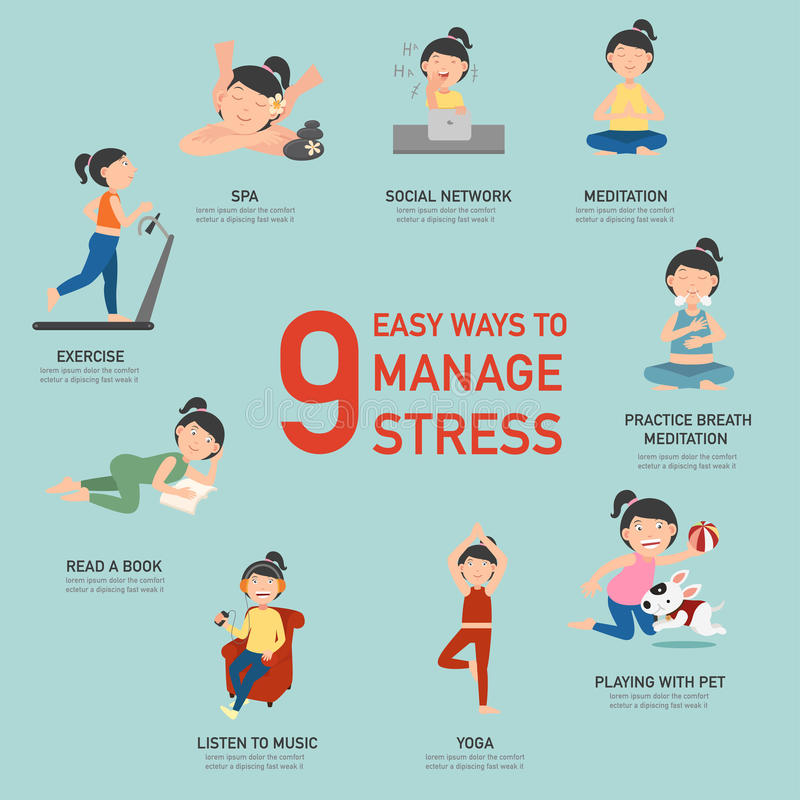 Easy ways to manage stress,infographic. Vector illustration royalty free illustration