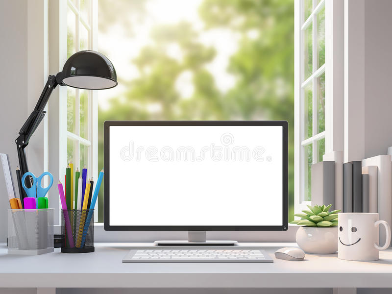 Easy white working desk with blank computer monitor screen 3d rendering image. There are open window look out to see the nature vector illustration
