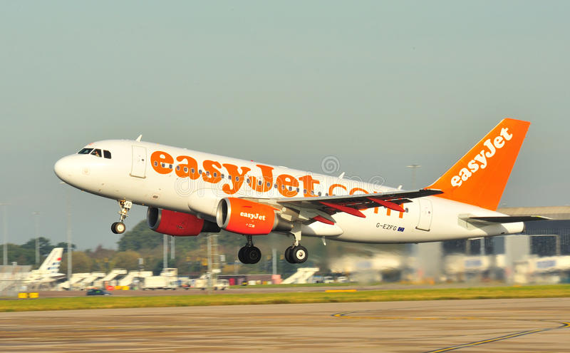 Easyjet Airbus A319. Taking off from Manchester Airport stock images