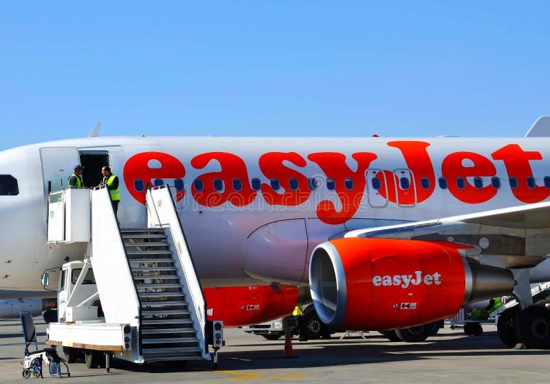 EasyJet airplan immagini stock