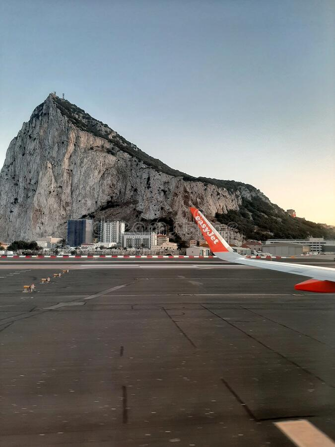 Easyjet Flight Taxis in Gibraltar royalty free stock photography