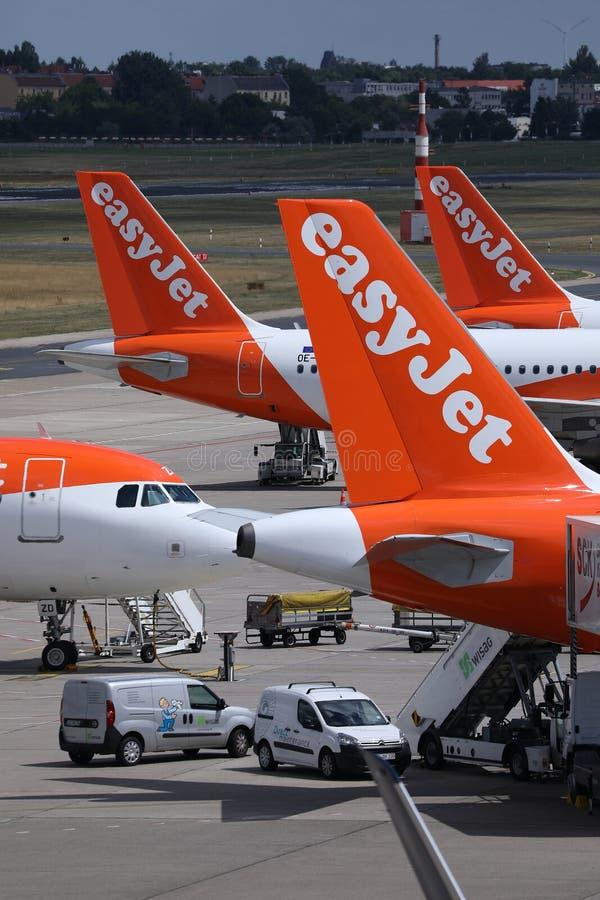Easyjet-Flugzeugendstücke, Großaufnahme lizenzfreie stockfotografie