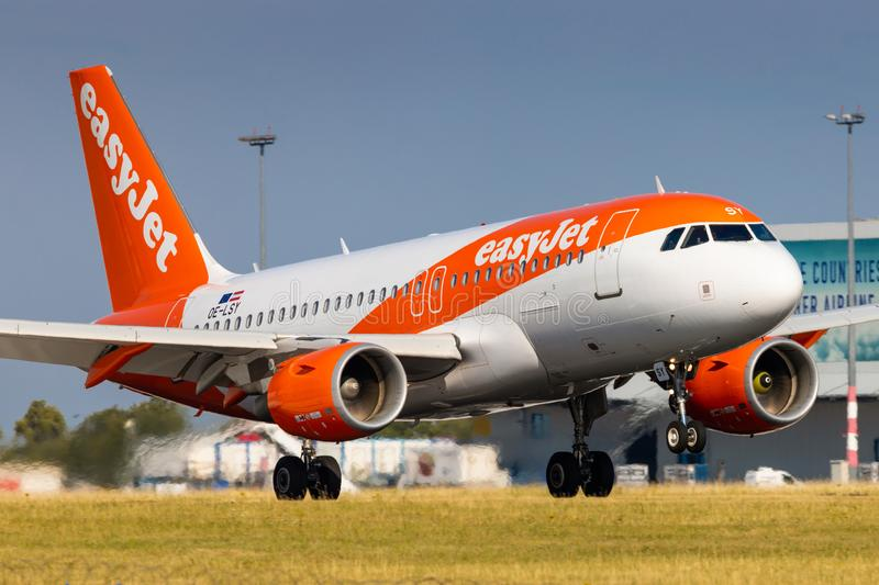 A319 Easyjet. PRAGUE, CZECH REPUBLIC - JULY 21: Airbus A319 of EasyJet  arrival to PRG Airport in Prague on July 21, 2019. Easyjet is a the second largest low stock photos