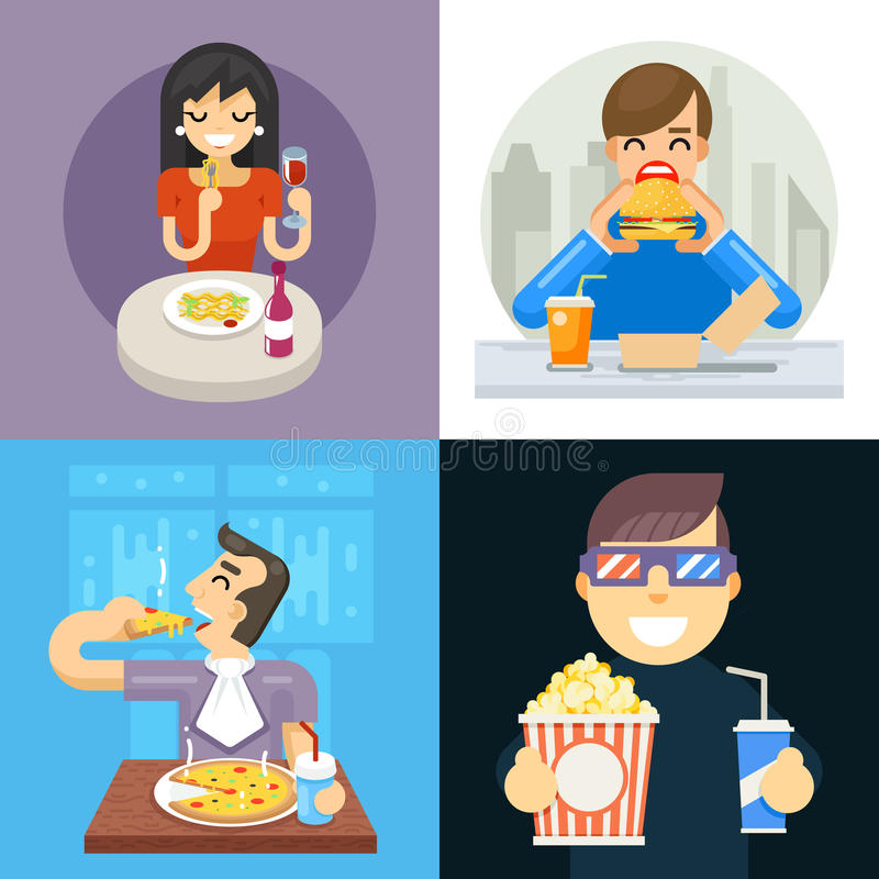 Eat food italian asta pizza spaghetti noodles popcorn hamburger dinner wine soda vine symbol icon concept Isolated flat stock illustration