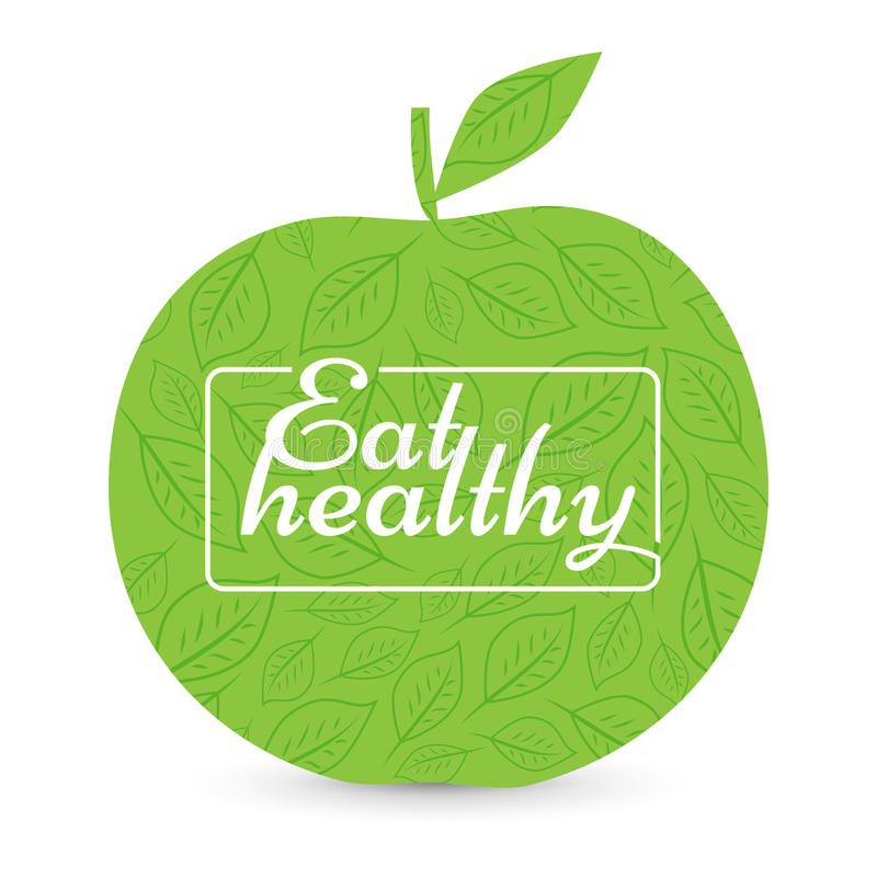 Eat a healthy diet. Green Apple, vector. stock illustration