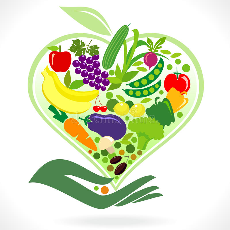 Eat Healthy Fruits and Vegetables vector illustration
