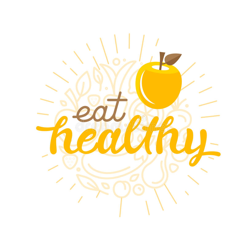 Eat healthy - motivational poster royalty free illustration