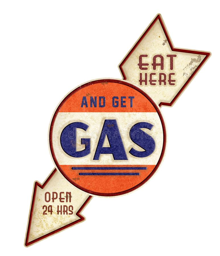 Eat Here Get Gas Vintage Sign royalty free stock photos
