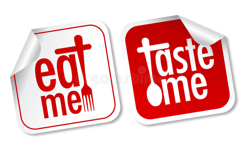 Download eat me and taste me stickers stock vector illustration of button restaurant