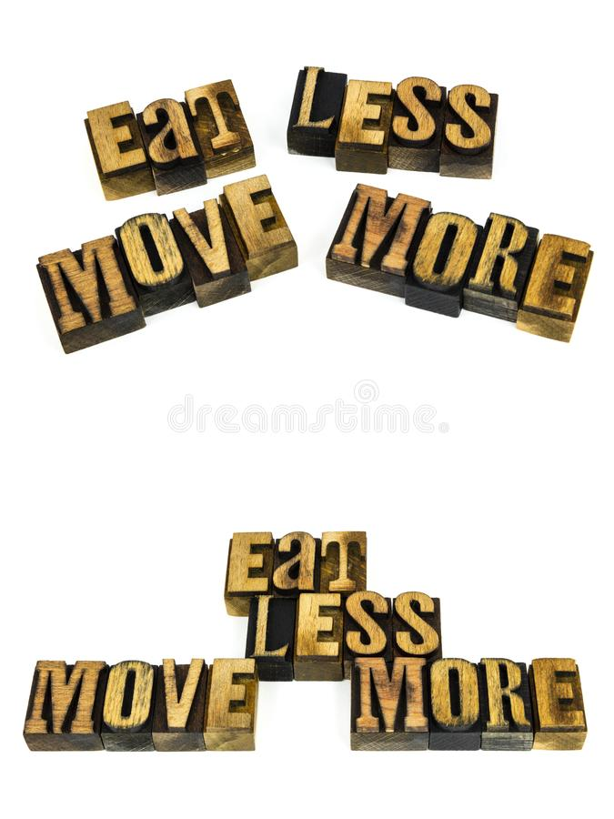 Eat less move more healthy royalty free stock photo