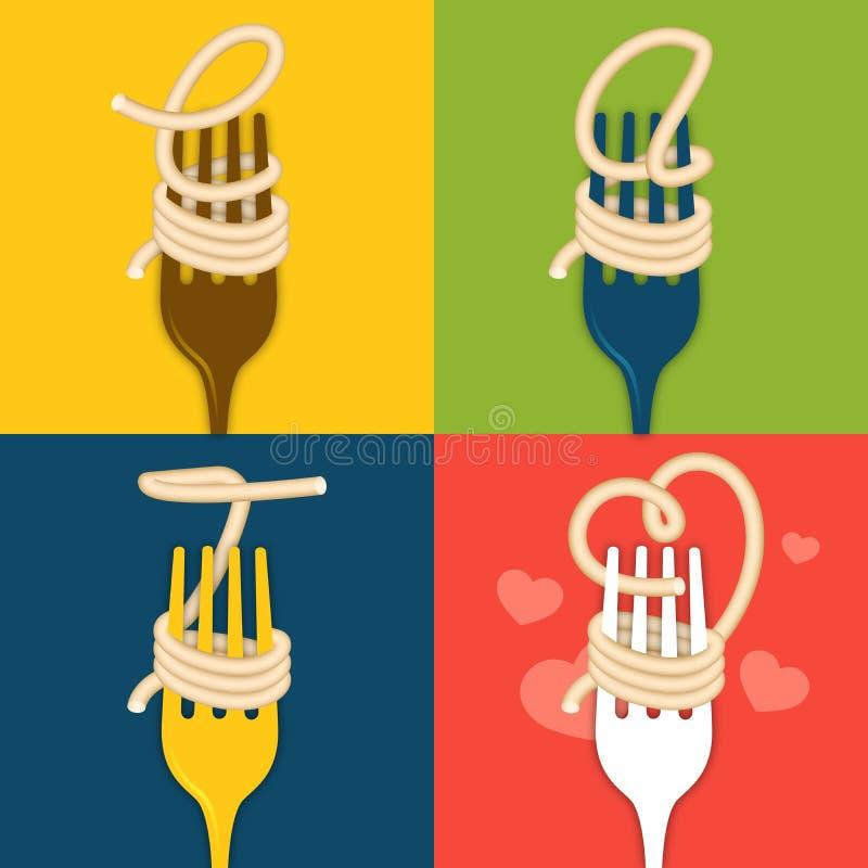 EAT noodles vector illustration