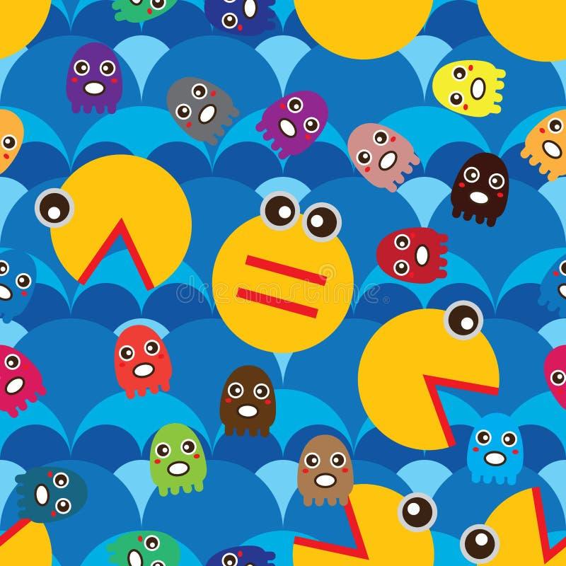 Eat octopus seamless pattern vector illustration