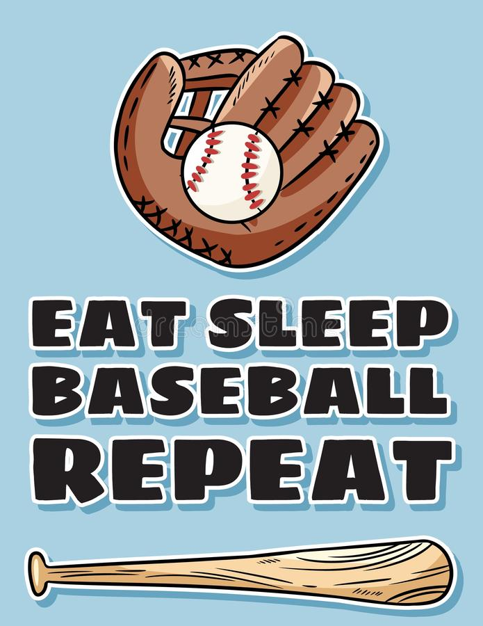 Free Eat Sleep Baseball Repeat Cute Postcard Bat, Glove And Ball, Icon Sports Logo. Summer Flyer Or Banner Design Stock Images - 155623864