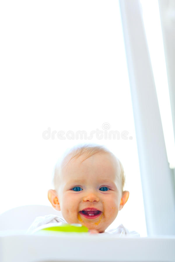 Download Eat Smeared Smiling Baby Girl Stock Photo - Image: 21348032