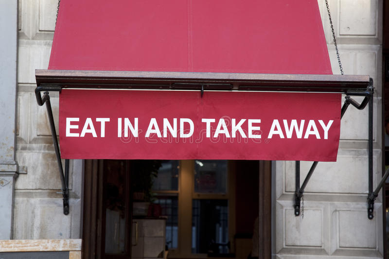 Download Eat In Or Take Away Sign Royalty Free Stock Images - Image: 28410529
