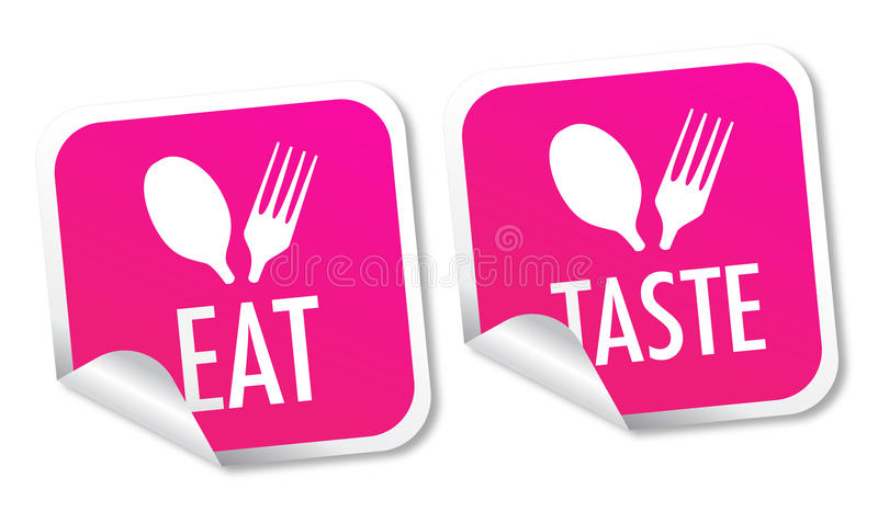 Eat and taste stickers royalty free illustration