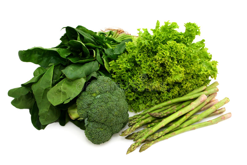 Eat Your Greens. ~ spinach, broccoli, curly lettuce and asparagus. Healthy eating stock photography