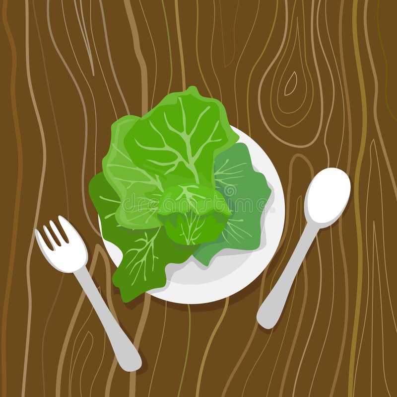 Eat your greens. Vector art on healthy foods royalty free illustration
