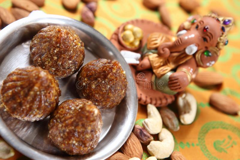 Khajur Modak, Dates Modak. Eaten dried or fresh date palm has numerous health benefits. They contain a good amount of vitamin B1, B2, B3, B5, and small amount of royalty free stock image