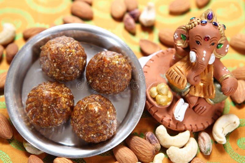 Khajur Modak, Dates Modak. Eaten dried or fresh date palm has numerous health benefits. They contain a good amount of vitamin B1, B2, B3, B5, and small amount of stock image