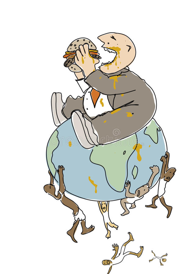 The Eater. Illustration, fat rich man sitting on top of the globe eating a burger, thin poor people are falling off the globe stock illustration