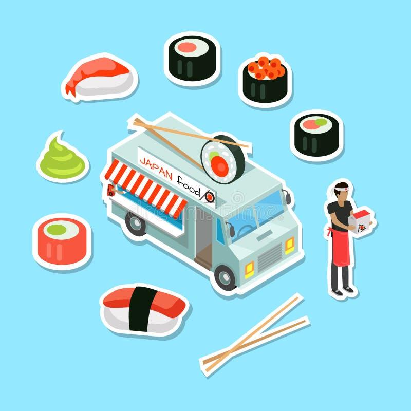 Eatery f?r Japan matgata i isometrisk projektion royaltyfri illustrationer