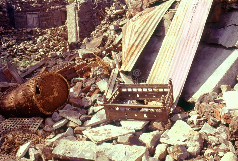 Eathquake Indien 1993 royaltyfri fotografi