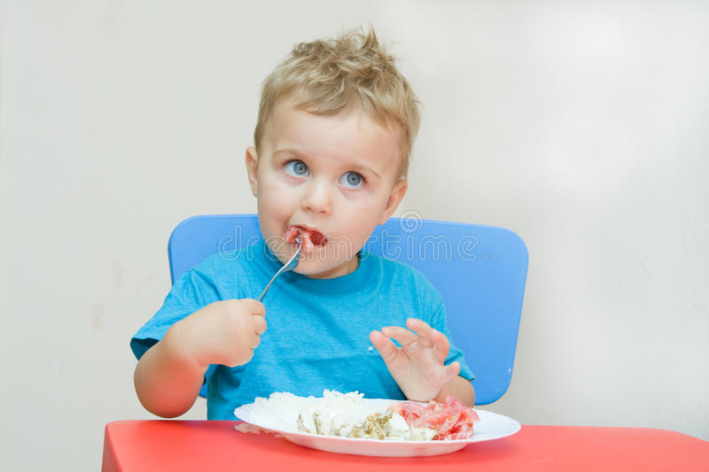 Download Eating baby stock photo. Image of fork, blue, babies - 10812002
