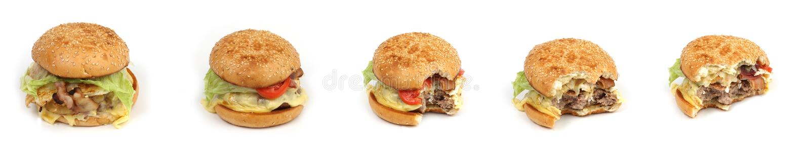 Eating buger stock photography