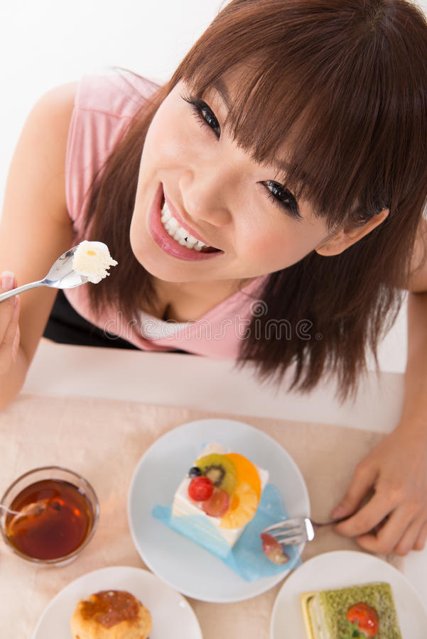 Download Eating cake. stock image. Image of leisure, girl, delicious - 27654861