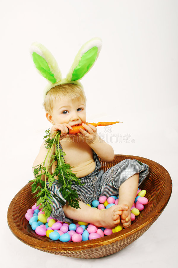 Eating a carrot royalty free stock photo