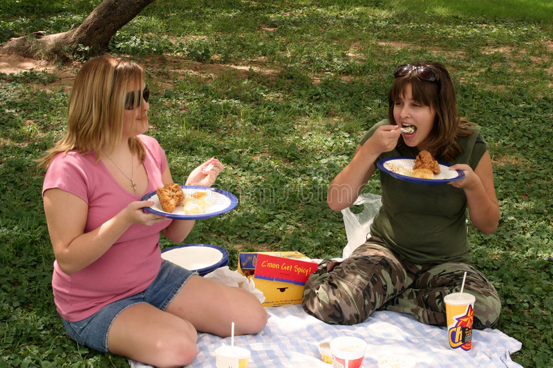 Download Eating Chicken stock image. Image of food, laughing, picnic - 1253325