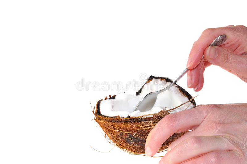 Download Eating a coconut. stock photo. Image of beverage, coconut - 18833064