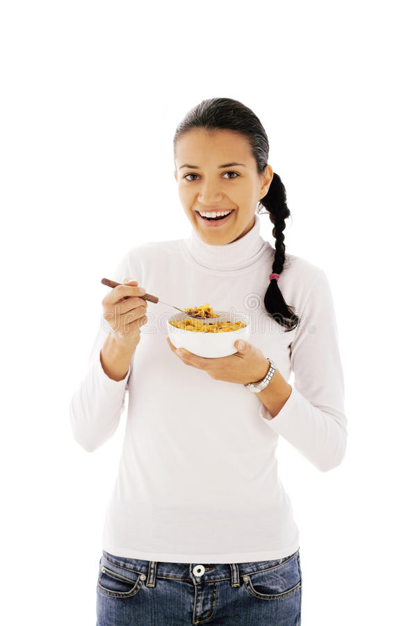 Eating cornflakes royalty free stock photo