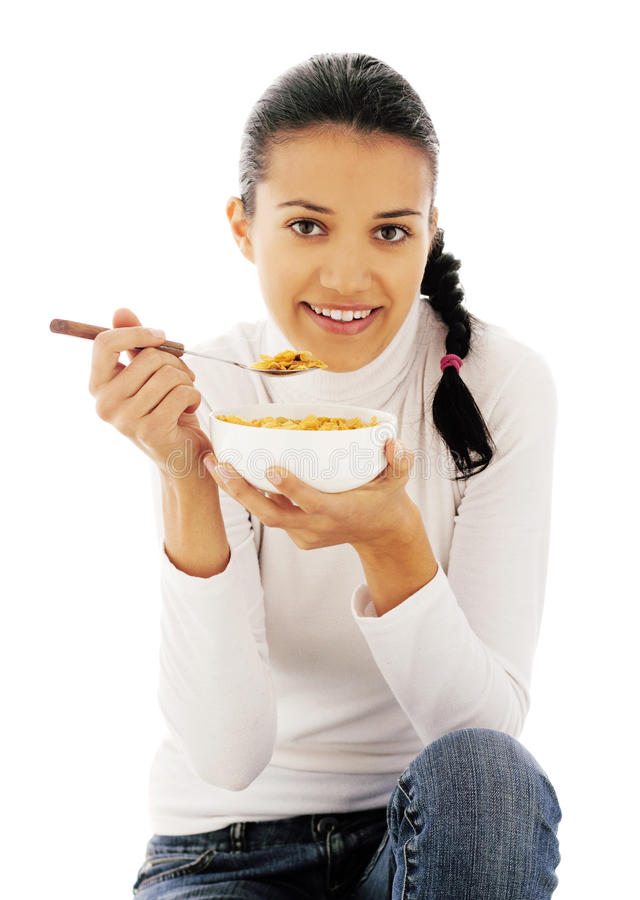 Eating cornflakes stock photo