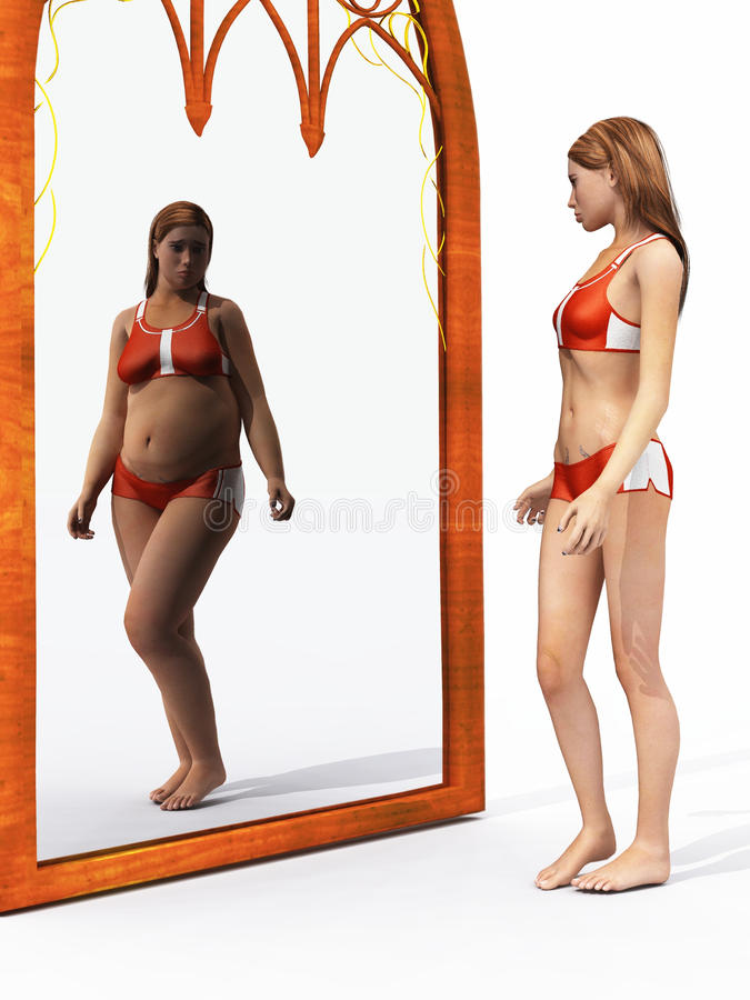 Eating disorder body image vector illustration