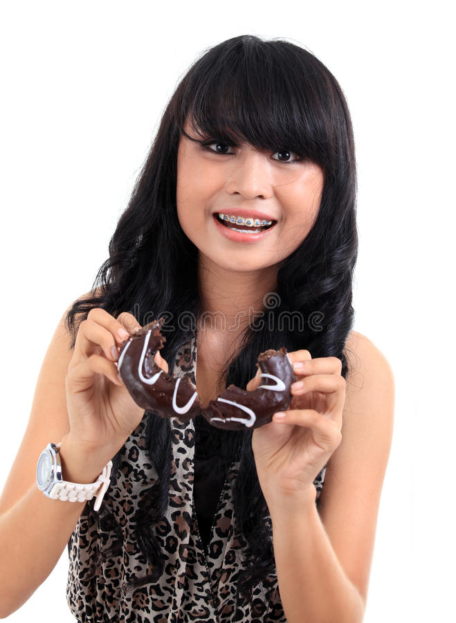 Download Eating donut stock photo. Image of closeup, happy, smile - 20460786